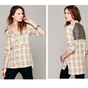 Free People Flannel Sequin Top Little Bit of Sugar